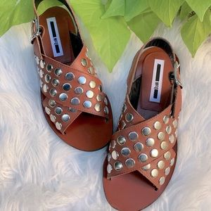 McQ ALEXANDER MCQUEEN crisscross studded sandals